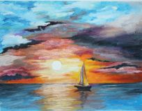 the yacht in the calm copy afremov