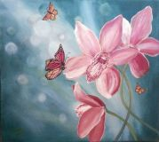 Orchid and butterflies