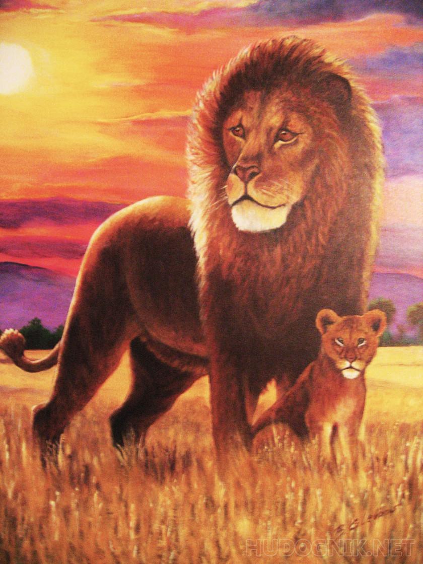 Картинки для детей лев и львенок