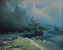 "Free copy of the painting Ivan Aivazovsky's ""Ships in a stormy sea"""
