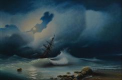 "Free copy of the painting of Ivan Aivazovsky ""Stormy sea at night"""