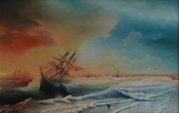 "Free copy of the painting of Ivan Aivazovsky ""Storm over Evpatoria"""