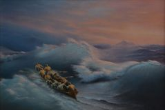 "Free copy of the painting of Ivan Aivazovsky ""Shipwreck"""