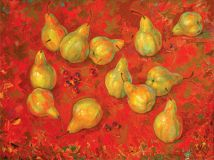 Pears on red