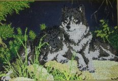 A pair of wolves beaded