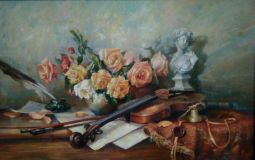 Flowers with violin