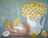 Birth. Still life with chicken and daffodils