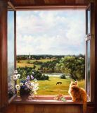 Summer, cottage, red cat
