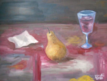 pear, wine and napkin