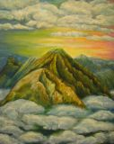 "The author's oil painting ""Beyond the clouds"""