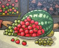 Still life with strawberries.