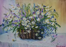Basket with wild flowers