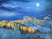 The Acropolis under the moon sight