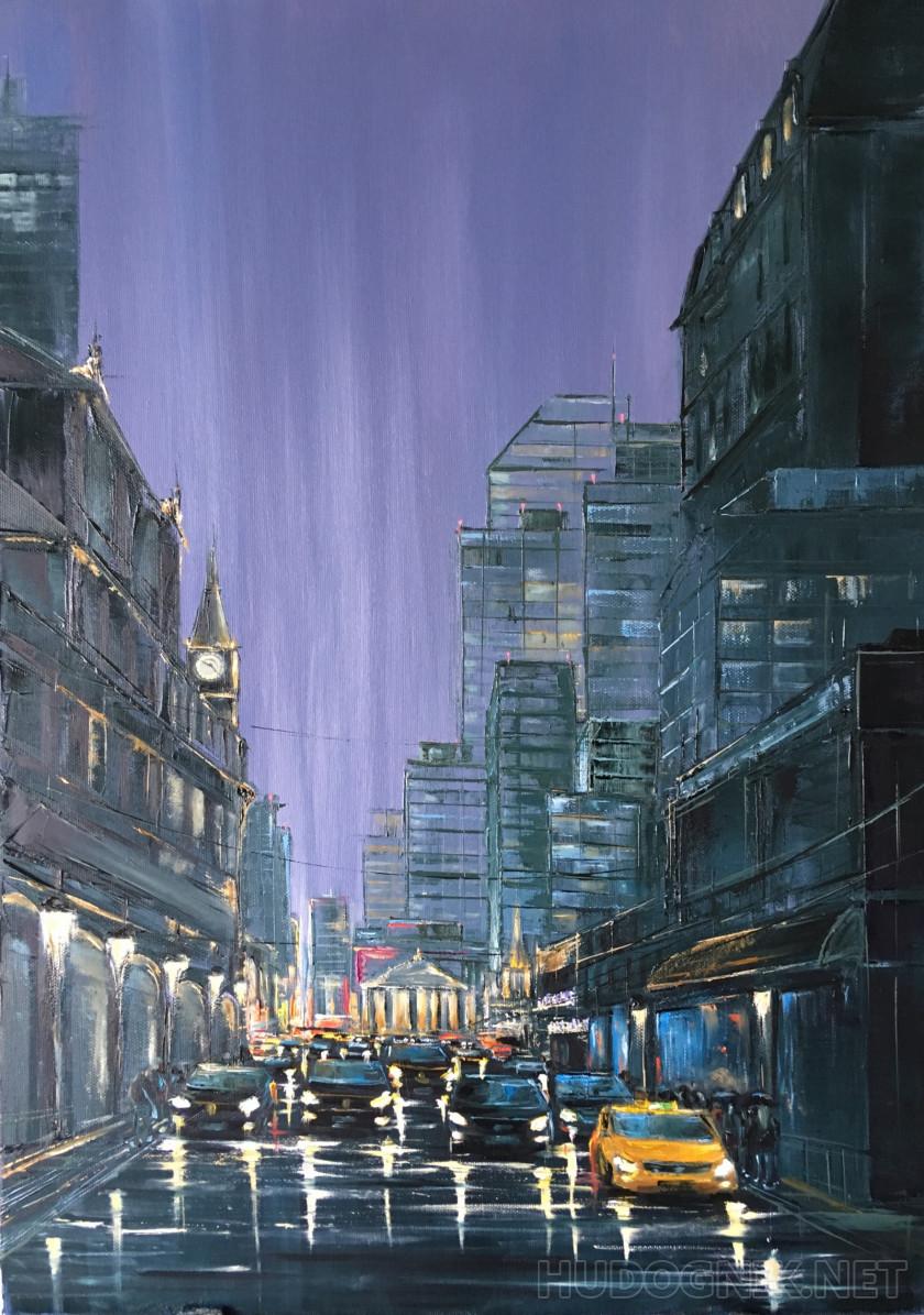 Картина Дождливый город. Размеры: 50x70, Год: 2018, Цена ...  Дождливый Город Картина