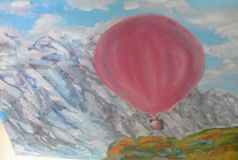 Balloon and mountains