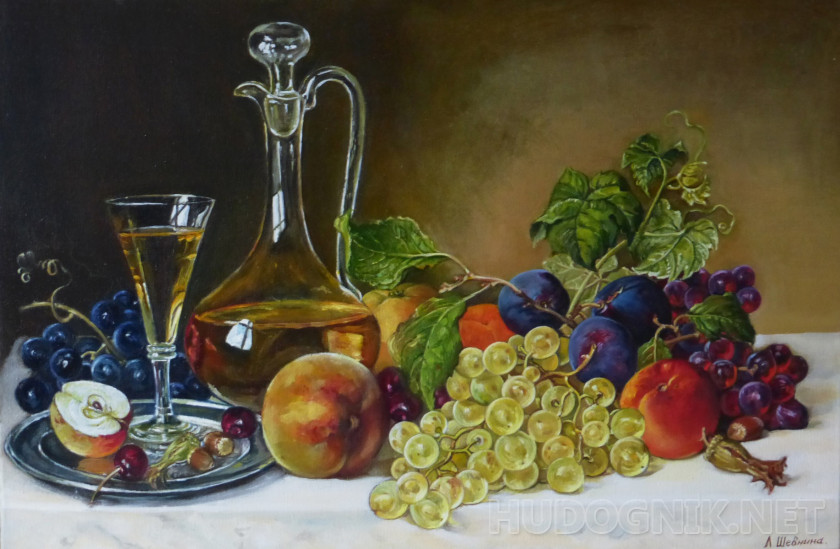 Still life with wine and fruit.