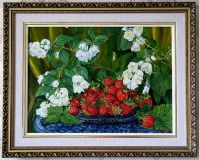 White Jasmine and bright red strawberries.