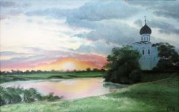 "Oil painting ""Church by the pond"""