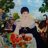 Copy Kustodiev B. merchant's wife at tea