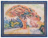 "Ceramic painting based on the work of Paul Signac, ""Pine in Saint-Tropez"""