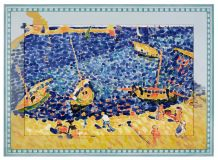 "Ceramic painting based on the work of Andre Derain's ""Boats in Collioure"""