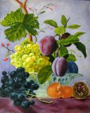 Still life with plums, grapes, peaches and a chestnut.