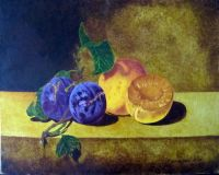 Still life with plums and apricots