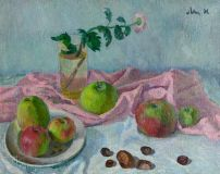 Still life with apples and chestnuts