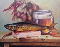 Still life with kippers and bacon