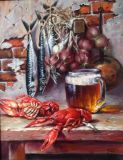 Still life with beer and crawfish