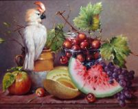 still life with a white parrot and watermelon