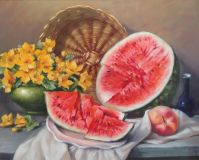 Still life with watermelon and a basket