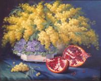 still life with pomegranate and Mimosa