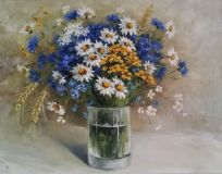 Chamomile, tansy, cornflowers and spikelets
