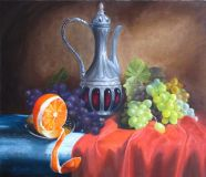 Still life with a jug, oranges and grapes