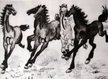 A copy of the Chinese artist Xu Bahuna. Famous horses.