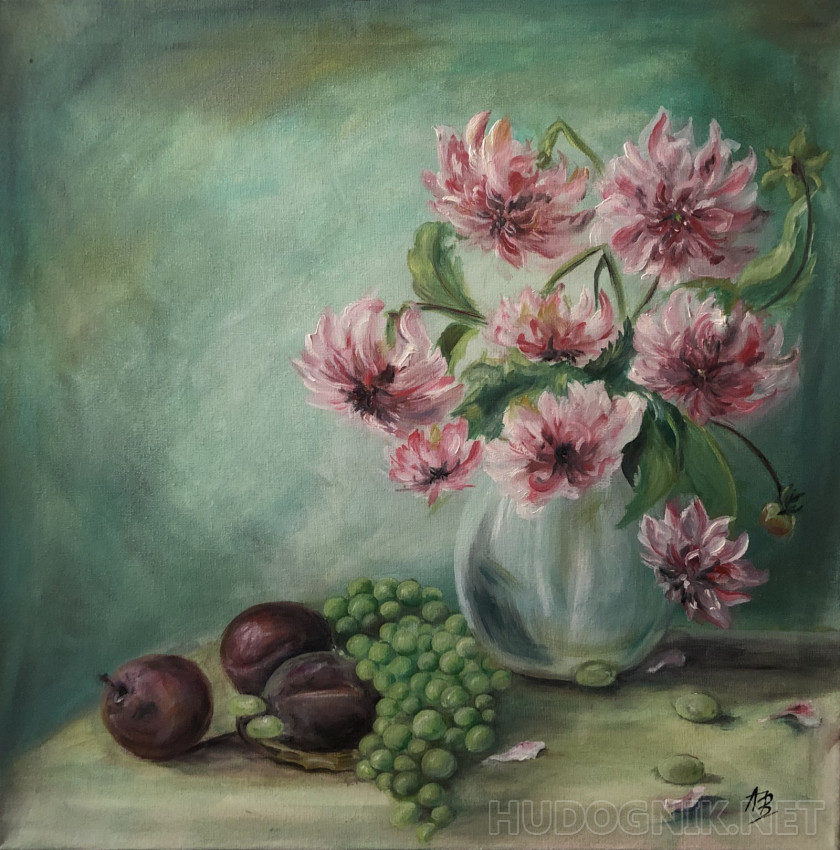 """Still life with peonies, grapes and plums"""