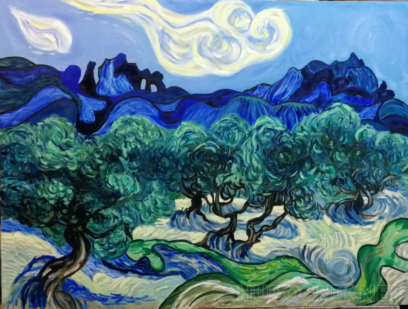 Copy van Gogh Olive, blue sky and white cloud