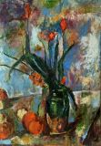 A free copy of the painting of Paul cézanne .Tyulpanyi in a vase.