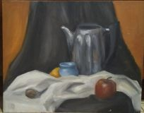 Still life with a shiny kettle