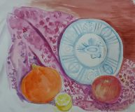 "The painting ""still life with pumpkin malakoi"""