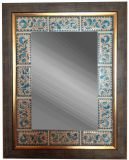 A mirror with a ceramic frame