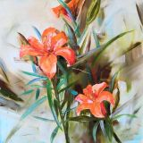 Painting lilies, the orange flowers picture on the wall