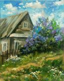 House with lilacs