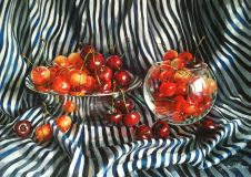 Striped still life with cherries