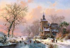 Winter landscape with castle
