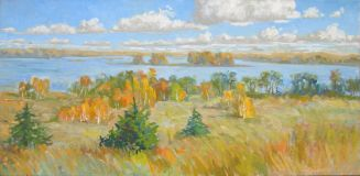 Autumn.The lake.Cloud 64х106 see the canvas.oil. 2018.