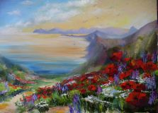 Poppies on the slopes of a Quiet Bay