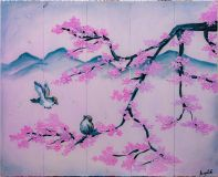 Sakura, sparrows and mountains