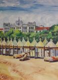 Oil painting, the island of Lido, Italy, beach, Grand hotel.